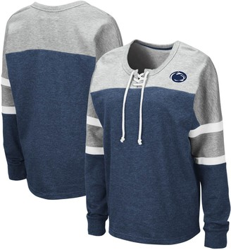 Colosseum Women's Navy Penn State Nittany Lions Manolo Lace-Up French Terry Pullover Sweatshirt