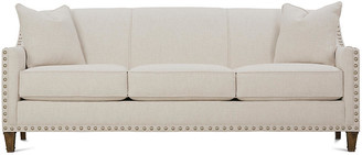 "One Kings Lane Tightback 84"" Sofa - Beige - frame, latte; upholstery, beige; nailheads, pewter"