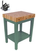 John Boos CU-CB3024S-BS Single-shelf Basil Butcher Block 30 x 24 Table and Henckels 13-piece Knife Block Set