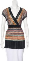 M Missoni Open Knit Short Sleeve Sweater
