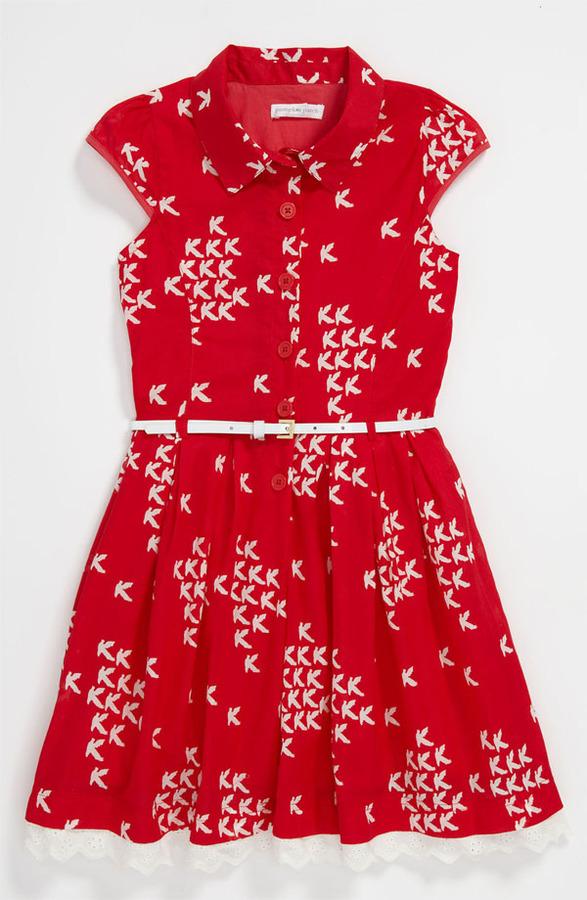 Pumpkin Patch 'Bird' Button Front Dress (Little Girls & Big Girls)