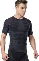 Deercon Men's Fitness Workout Compression short sleeve t shirts Sports Baselayer Underwear Running(Red Line)