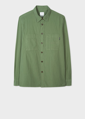 Paul Smith Men's Khaki Classic-Fit Seersucker Shirt