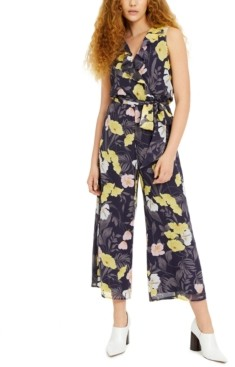 Bar III Cropped Floral-Print Chiffon Jumpsuit, Created for Macy's