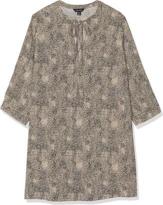 New Look Women's T DOT Animal LS TIE NK Tunic Shirt