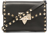 Valentino Small Rockstud Shoulder Bag in Black.