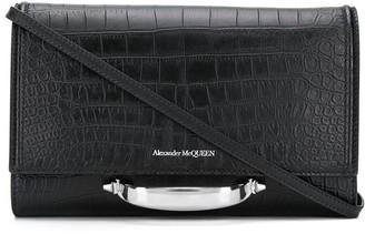 Alexander McQueen Croc-Effect Handle-Detail Clutch Bag