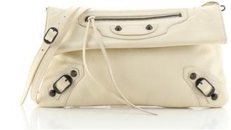 Balenciaga Classic Studs Envelope Strap Clutch Leather
