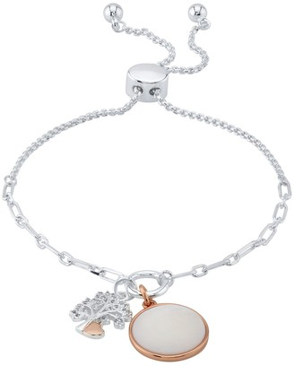 """Love This Life Two-Tone """"Family"""" Cubic Zirconia & Mother of Pearl Bolo Bracelet"""