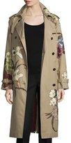Valentino Kimono Embroidered Trenchcoat, Beige