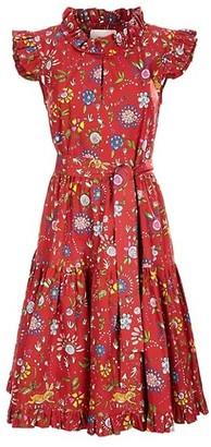 La DoubleJ Ruffle Trim Floral Fit & Flare Dress