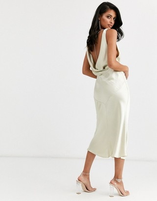 Asos Design DESIGN cowl back bias cut midi dress with diamante back detail in satin-Cream