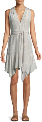 Halston Floral-Print V-Neck Dress with Sash
