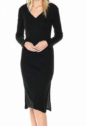 Lucca Couture Women's Ava V-Neck Ribbed Knit Sweater Midi Dress