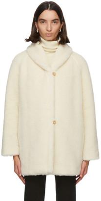 Max Mara Off-White Alpaca and Silk Teddy Coat