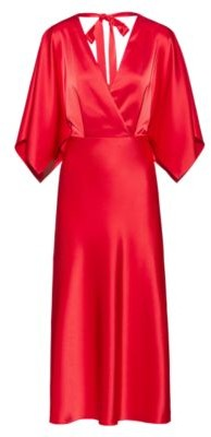 HUGO BOSS Lustrous V Neck Dress With Back Neck Tie Detail - Red