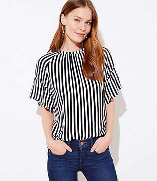 LOFT Petite Striped Tie Back Blouse