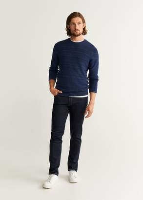 MANGO MAN - Striped real indigo sweater indigo blue - XS - Men