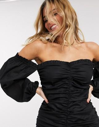 Asos DESIGN ruched off shoulder mini dress in cotton poplin in black