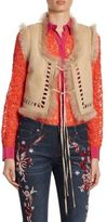 Roberto Cavalli Cropped Suede & Shearling Vest