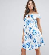 Asos Twist Front Bardot Skater Dress In Floral Print