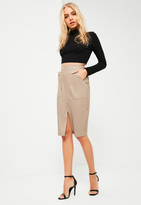 Missguided Nude Faux Leather Midi Pocket Skirt