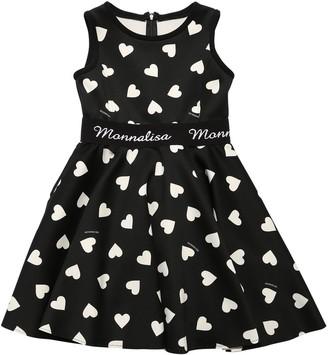 MonnaLisa Heart Print Neoprene Dress