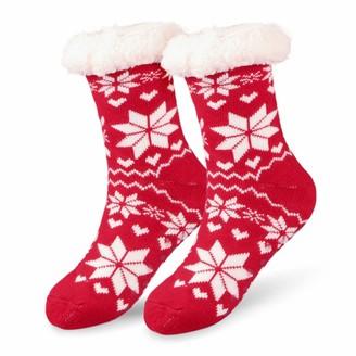 Hotelvs Slipper Socks Winter Ladies Non Slip Fleece Lined Slipper Socks Soft Cotton Knitted Sock for Women Girls Christmas Xmas Gift Indoor One Size