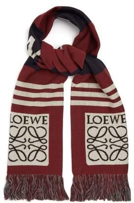 Loewe Logo Jacquard Wool Pique Scarf - Mens - Burgundy
