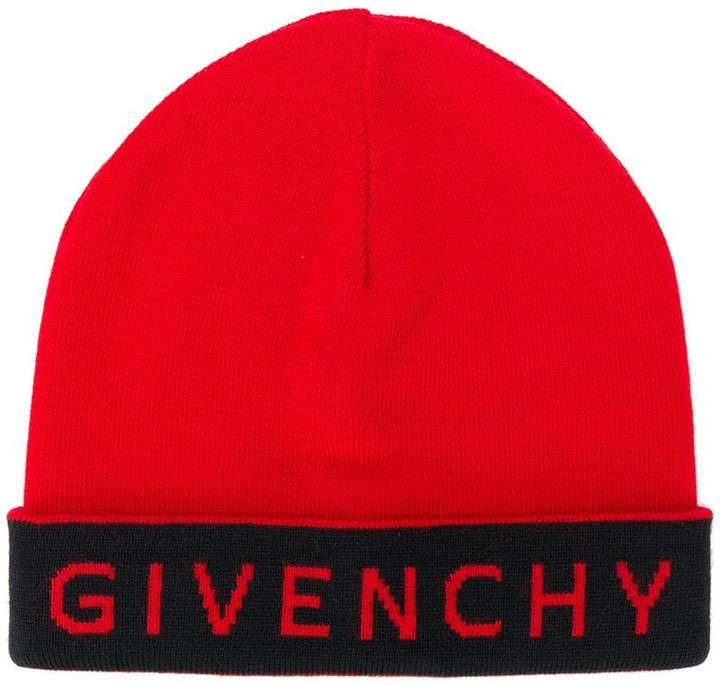 Givenchy contrast logo beanie hat