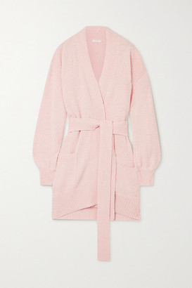 Skin Marlee Belted Organic And Pima Cotton-terry Cardigan - Pink