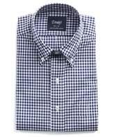Drakes Drake's Buttondown Gingham Shirt in Navy