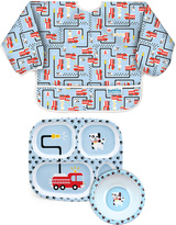 Bumkins Fire Engine Sleeved Bib Plate & Bowl Set