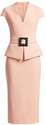 Safiyaa Petrina Heavy-Crepe Belted Sheath Dress