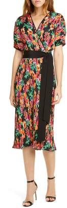 Diane von Furstenberg Autumn Floral Micropleat Short Sleeve Dress