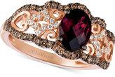 LeVian Le Vian Chocolatier® Raspberry Rhodolite® Garnet (1 ct. t.w.) and Diamond (3/8 ct. t.w.) Ring in 14k Rose Gold