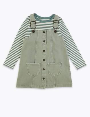 Marks and Spencer Denim Pinny & Striped Top Outfit (2-7 Years)