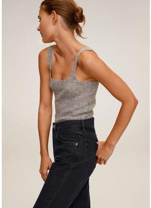 MANGO Havana Cropped Wide Leg Jeans - Grey