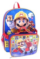 "Nintendo 12"" Super Mario Kids Backpack with Detachable Lunch Kit - Red"