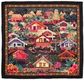 Salvatore Ferragamo Tropical Village Print Twill Silk Scarf
