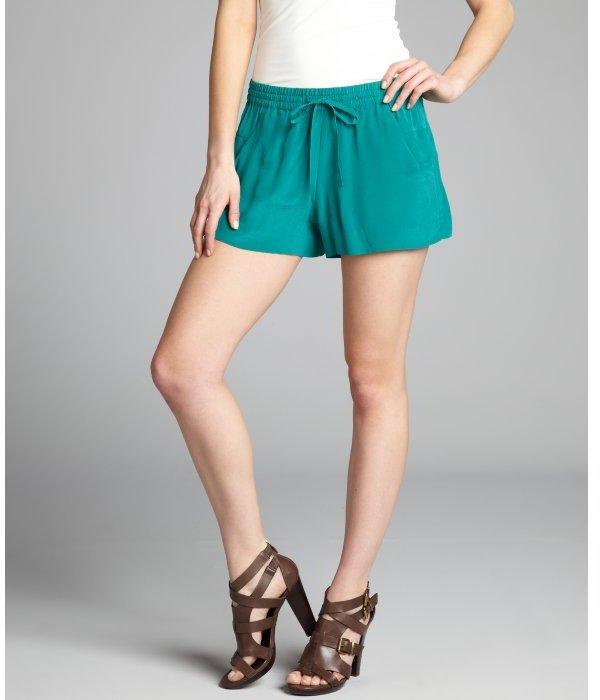 French Connection wallflower green silk tie waist shorts