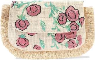 Kayu Amelia Fringed Embroidered Woven Straw Shoulder Bag