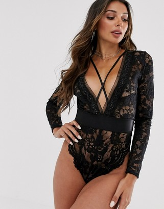 Ann Summers mayah long sleeve lace body in black