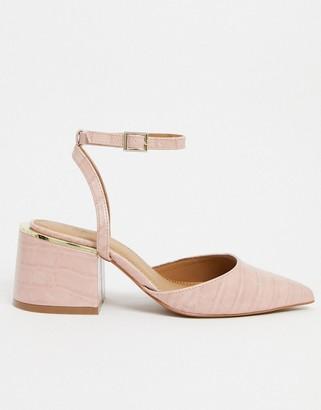 ASOS DESIGN Steady block heel mid shoes in beige croc