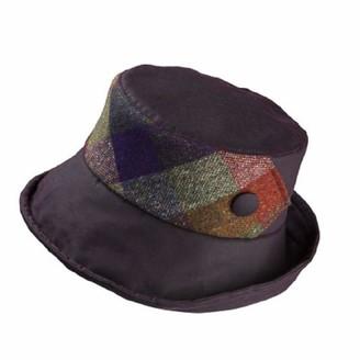 Olney Ladies Gemma Wax Cotton Hat Wide Brim & Tweed Panel (Burgundy)