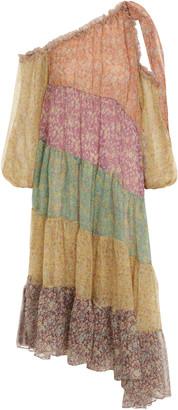 Zimmermann Carnaby Tiered Floral Silk Asymmetric Midi Dress