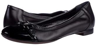 AGL Cap Toe Ballet Flat (Black) Women's Shoes