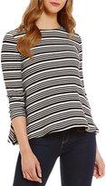 Daniel Cremieux Staci Stripe Long Sleeve Knit Top