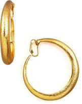 Jose & Maria Barrera Hammered Golden Clip-On Hoops
