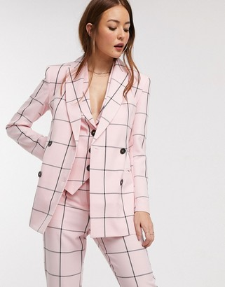 Asos Design DESIGN double breasted suit blazer in pink grid-Multi